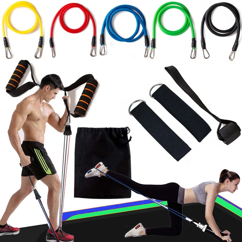 full body home workout resistance bands set 100 lbs